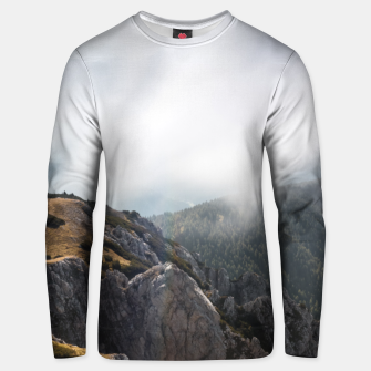 Thumbnail image of Clouds rolling over mountains Unisex sweater, Live Heroes