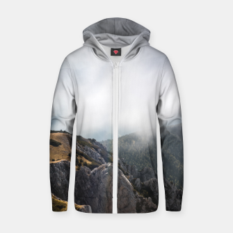 Thumbnail image of Clouds rolling over mountains Zip up hoodie, Live Heroes
