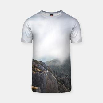 Thumbnail image of Clouds rolling over mountains T-shirt, Live Heroes