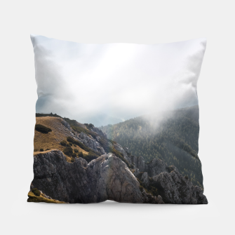 Thumbnail image of Clouds rolling over mountains Pillow, Live Heroes