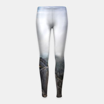 Thumbnail image of Clouds rolling over mountains Girl's leggings, Live Heroes