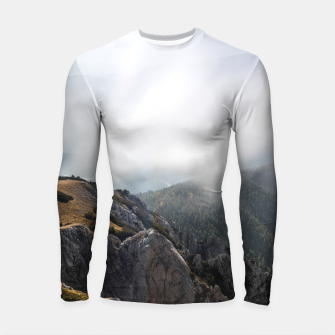 Thumbnail image of Clouds rolling over mountains Longsleeve rashguard , Live Heroes