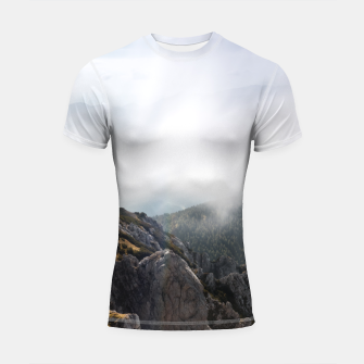 Thumbnail image of Clouds rolling over mountains Shortsleeve rashguard, Live Heroes