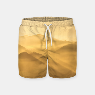 Miniatur Morning fog hills layers sunrise Swim Shorts, Live Heroes