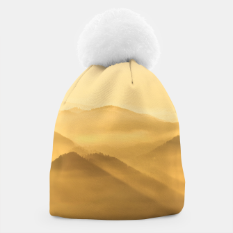 Miniatur Morning fog hills layers sunrise Beanie, Live Heroes