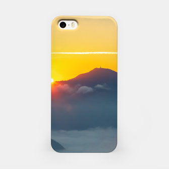 Thumbnail image of Sun peaking behind Uršlja gora, Slovenia iPhone Case, Live Heroes