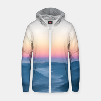 Miniature de image de Morning fog and magical sky before sunrise Zip up hoodie, Live Heroes