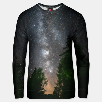 Thumbnail image of Milky way above spruce forest Unisex sweater, Live Heroes