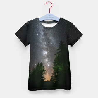Miniatur Milky way above spruce forest Kid's t-shirt, Live Heroes