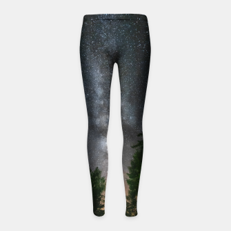 Miniatur Milky way above spruce forest Girl's leggings, Live Heroes