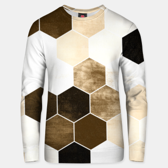 Miniature de image de Honeycombs print, sepia colors hexagons with stone effect Unisex sweater, Live Heroes