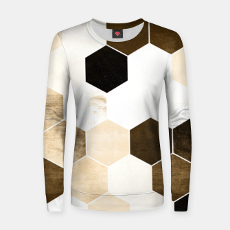 Miniature de image de Honeycombs print, sepia colors hexagons with stone effect Women sweater, Live Heroes