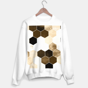 Miniatur Honeycombs print, sepia colors hexagons with stone effect Sweater regular, Live Heroes