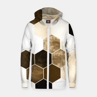 Miniature de image de Honeycombs print, sepia colors hexagons with stone effect Zip up hoodie, Live Heroes