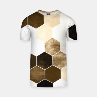 Miniature de image de Honeycombs print, sepia colors hexagons with stone effect T-shirt, Live Heroes