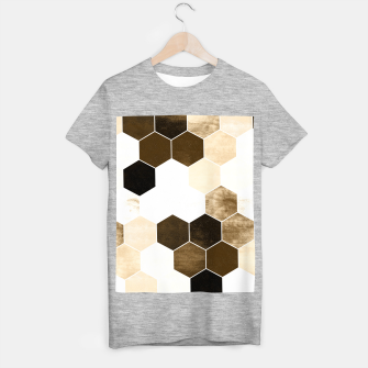 Miniature de image de Honeycombs print, sepia colors hexagons with stone effect T-shirt regular, Live Heroes