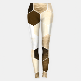Miniature de image de Honeycombs print, sepia colors hexagons with stone effect Leggings, Live Heroes