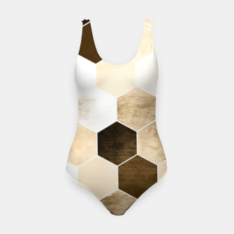 Miniature de image de Honeycombs print, sepia colors hexagons with stone effect Swimsuit, Live Heroes