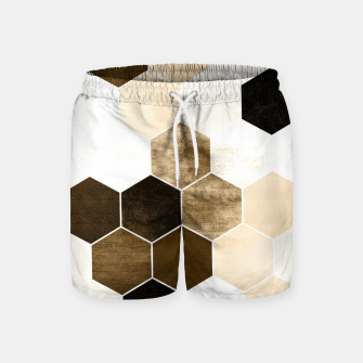Miniature de image de Honeycombs print, sepia colors hexagons with stone effect Swim Shorts, Live Heroes