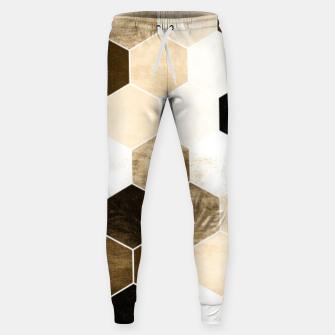 Miniature de image de Honeycombs print, sepia colors hexagons with stone effect Sweatpants, Live Heroes