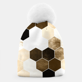 Miniature de image de Honeycombs print, sepia colors hexagons with stone effect Beanie, Live Heroes