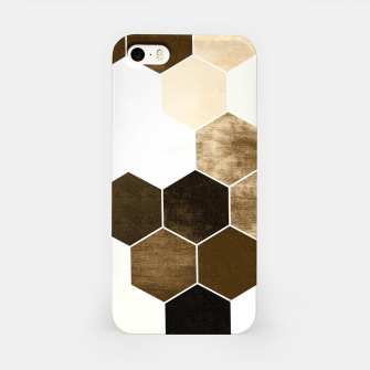 Miniature de image de Honeycombs print, sepia colors hexagons with stone effect iPhone Case, Live Heroes