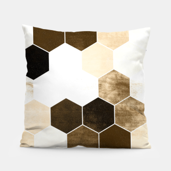 Miniature de image de Honeycombs print, sepia colors hexagons with stone effect Pillow, Live Heroes