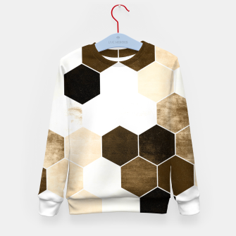 Miniature de image de Honeycombs print, sepia colors hexagons with stone effect Kid's sweater, Live Heroes