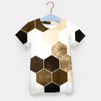 Miniature de image de Honeycombs print, sepia colors hexagons with stone effect Kid's t-shirt, Live Heroes