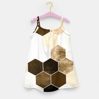 Miniature de image de Honeycombs print, sepia colors hexagons with stone effect Girl's dress, Live Heroes