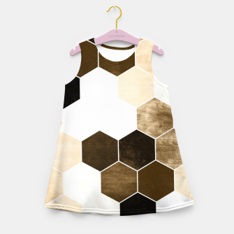 Miniature de image de Honeycombs print, sepia colors hexagons with stone effect Girl's summer dress, Live Heroes