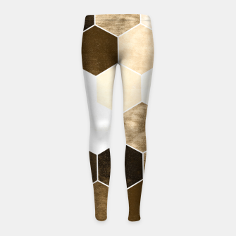 Miniature de image de Honeycombs print, sepia colors hexagons with stone effect Girl's leggings, Live Heroes