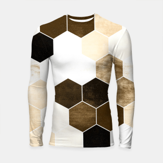 Miniature de image de Honeycombs print, sepia colors hexagons with stone effect Longsleeve rashguard , Live Heroes