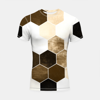 Miniatur Honeycombs print, sepia colors hexagons with stone effect Shortsleeve rashguard, Live Heroes