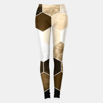 Miniatur Honeycombs print, sepia colors hexagons with stone effect Leggings, Live Heroes