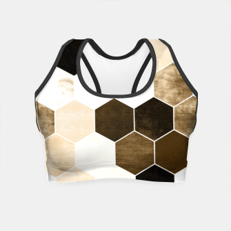 Miniature de image de Honeycombs print, sepia colors hexagons with stone effect Crop Top, Live Heroes