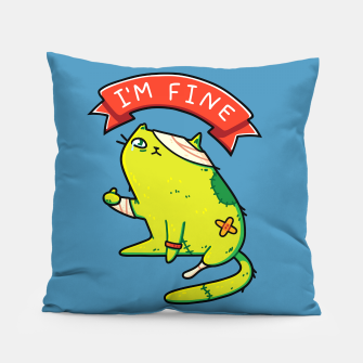Miniature de image de Creepy Cute Zombie Cat, I'm Fine Typography, Halloween, Kawaii Pillow, Live Heroes