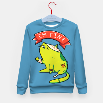 Miniature de image de Creepy Cute Zombie Cat, I'm Fine Typography, Halloween, Kawaii Kid's sweater, Live Heroes