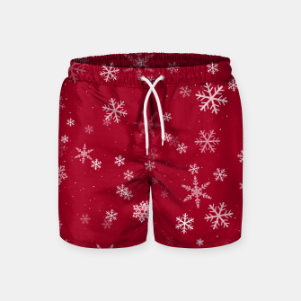 Thumbnail image of Red and White Snowflake Pattern Swim Shorts, Live Heroes