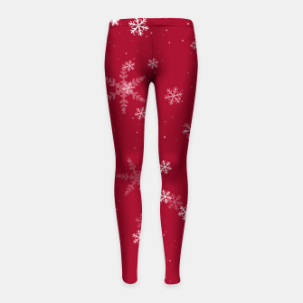 Thumbnail image of Red and White Snowflake Pattern Girl's leggings, Live Heroes