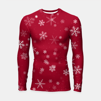 Thumbnail image of Red and White Snowflake Pattern Longsleeve rashguard , Live Heroes
