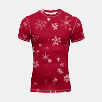 Thumbnail image of Red and White Snowflake Pattern Shortsleeve rashguard, Live Heroes