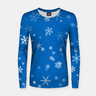 Miniatur Blue and White Snowflake Pattern Women sweater, Live Heroes