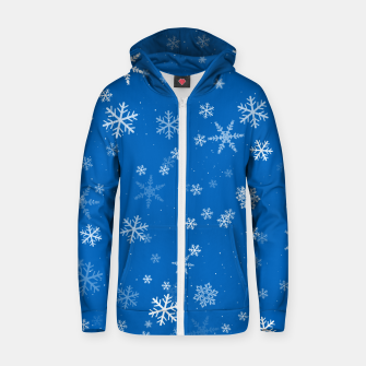 Thumbnail image of Blue and White Snowflake Pattern Zip up hoodie, Live Heroes
