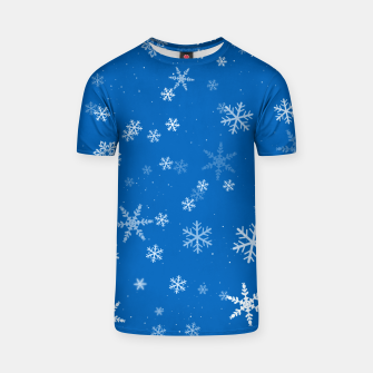 Thumbnail image of Blue and White Snowflake Pattern T-shirt, Live Heroes