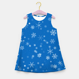 Thumbnail image of Blue and White Snowflake Pattern Girl's summer dress, Live Heroes