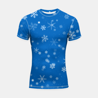 Thumbnail image of Blue and White Snowflake Pattern Shortsleeve rashguard, Live Heroes