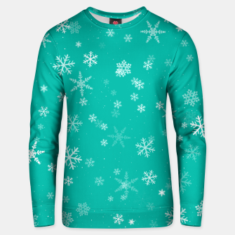 Miniatur Green and White Snowflake Pattern Unisex sweater, Live Heroes