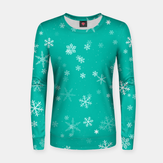 Thumbnail image of Green and White Snowflake Pattern Women sweater, Live Heroes