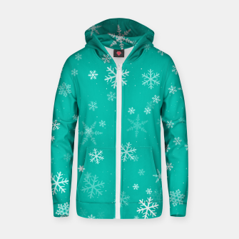 Thumbnail image of Green and White Snowflake Pattern Zip up hoodie, Live Heroes